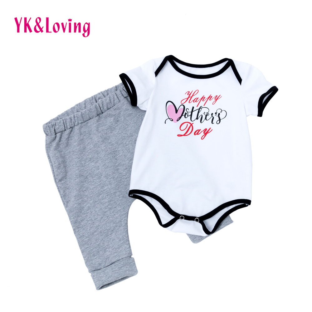 Newborn Infant Baby Boy Clothes Set short Sleeve letter printing Bodysuit Tops+Gray Pants PP Mothers Day Outfit Set