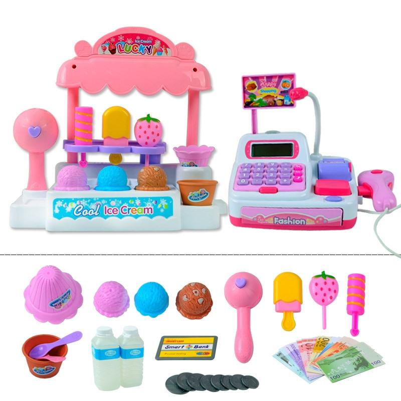 LeadingStar Children Pretend Play Toy Set Ice Cream Shop Cash Register with Realistic Actions and Sounds Gift for Kids