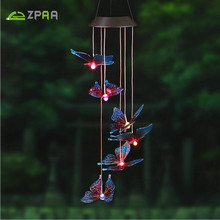 ZPAA Butterfly LED Solar Panel Wind Chime Nightlight Solar Powered Outdoor Solar Lamp Color-Changing for Home Garden Decoration