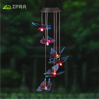 ZPAA Butterfly LED Solar Panel Wind Chime Nightlight Solar Powered Outdoor Solar Lamp Color Changing For