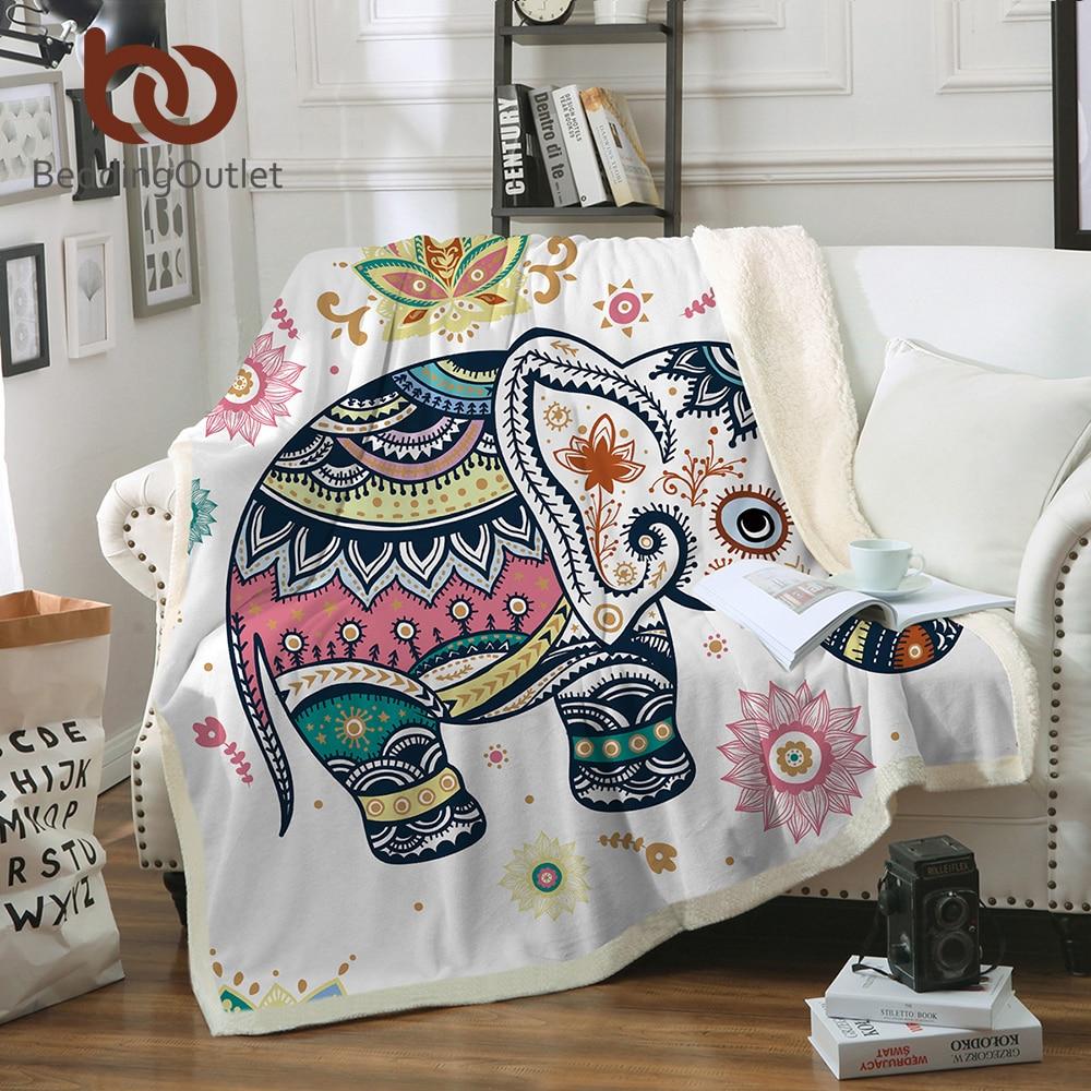 BeddingOutlet Super Weichen Gemütlichen Samt Plüsch Decke Regenbogen Elefanten Moderne Linie Kunst Sherpa Decke für Couch Werfen Reise
