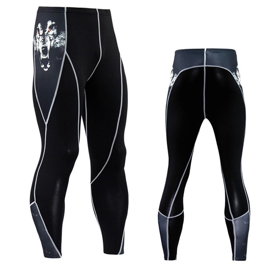 tracksuit leggings men compression pants rashgard male Fitness stretch pants Breathable and quick drying Flat locking Stitching
