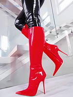 New Sexy Stiletto Heels Stretch Knee High Boots Women Pointy Toe Patent Leather Long Boots Concise High Heels Boots Shoes Woman