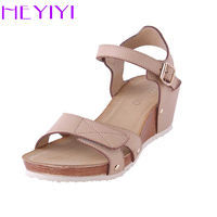 HEYIYI Platform Wedges Shoes Women Sandals Large Size Soft PU Leather Casual Lightweight Rivet Hook Loop