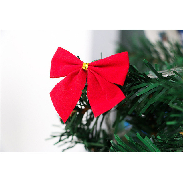 12pcslot christmas tree ornaments 55cm gold red silver bow tie bowknot christmas decorating