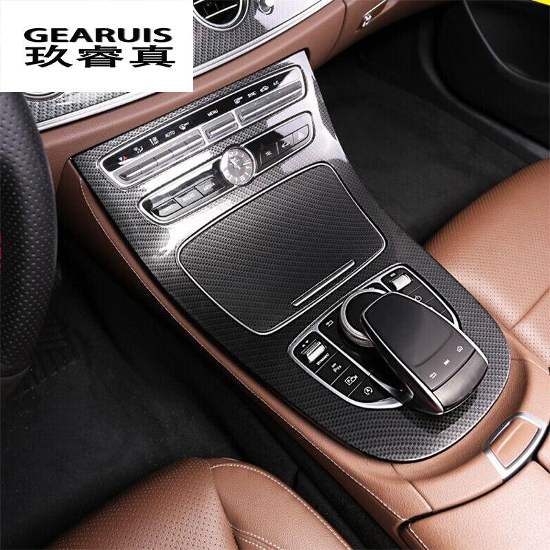 Car Center Console Panel Decoration Cover Trim Carbon Fiber Car Styling 2pcs For Mercedes Benz New E Class W213 200 300 2016-17