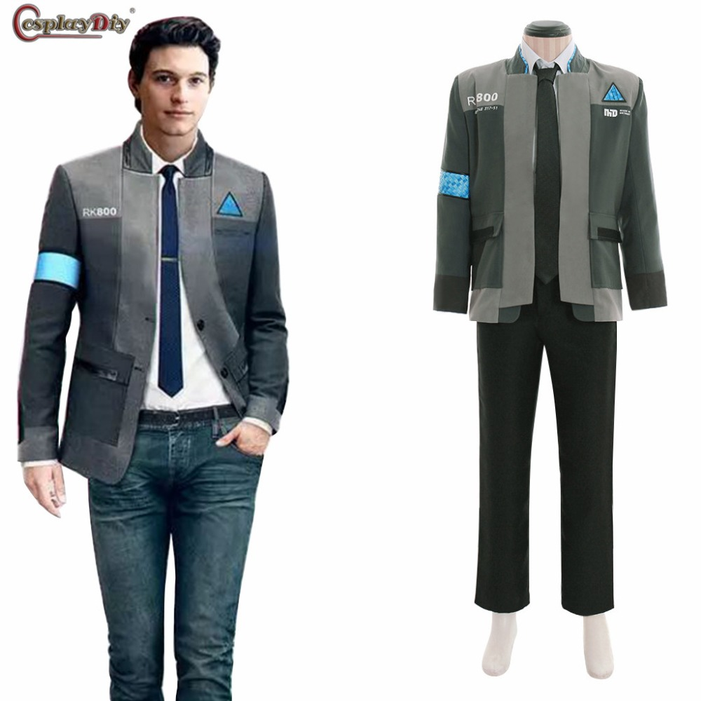 Detroit Become Human Connor RK800 Agent Suit Uniform Cosplay Men Costume Coat Pants Jacket Customize Made