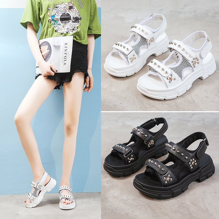 Genuine Leather Rivet Gladiator Flat Platform Women 39 s Sandals 2019 Summer Fashion Women Chunky Beach Sandal Woman Shoes in Low Heels from Shoes