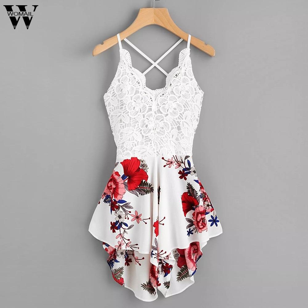 Womail bodysuit Women Summer Crochet Lace Panel Bow Tie Back Florals Ladies Shorts print   Jumpsuit   Loose Fashion2019 dropship f28
