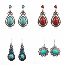 цены на Tibetan Vintage Antique Blue Stone Earrings For Women Silver Color Drop Dangle Ethnic Earrings Big Discount Fashion Boho Jewelry  в интернет-магазинах