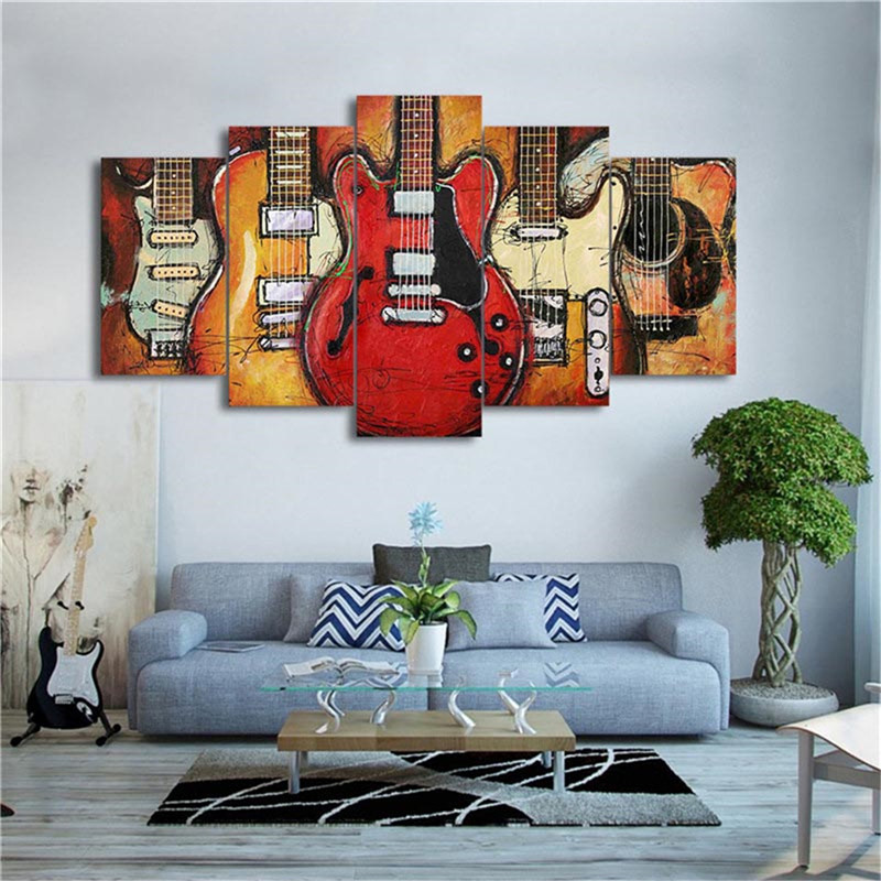 Home Office Sets Painted Office 5 Piece: Abstract Electric Guitar Oil Painting On Canvas Hd Printed