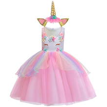 Baby girl princess dress unicorn gauze dress festival costumes irregular fluffy dress 3-8y high quality Children's wear Hot sale picturesque childhood official store 3 1 best quality footies long sleeve for newborns costumes hot sale