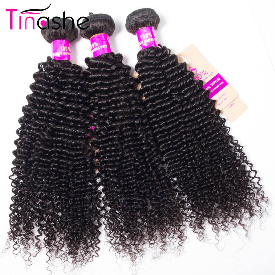 Tinashe Hair Bundles Weave Natural-Color Curly Kinky 100%Remy Peruvian title=