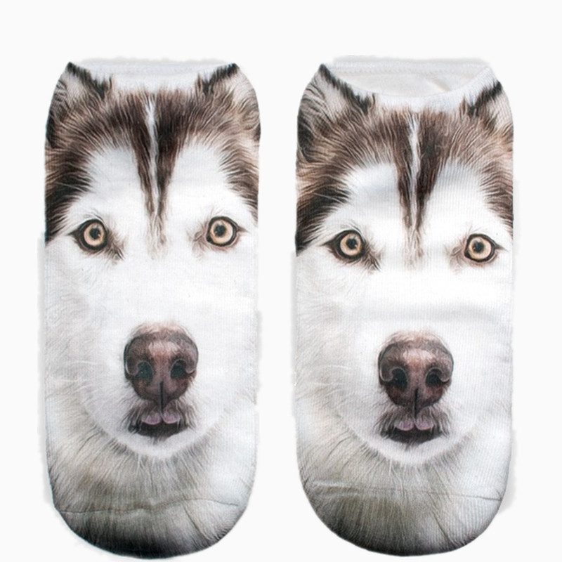 Funny Huskies Dog Graphic 3D Full Print Women Cute Low Cut Ankle Socks Multiple Colors Cotton Sock Casual Hosiery