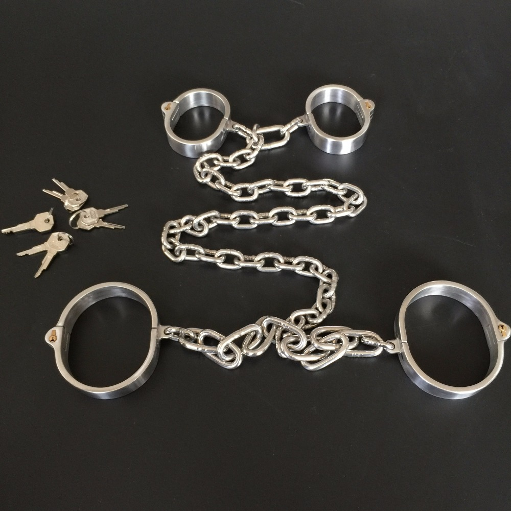 все цены на 1 Set Stainless Steel Hand Ankle Cuffs Metal Bondage Restraints Adult Games Slave BDSM Handcuffs Leg Irons Fetish Sex Toys