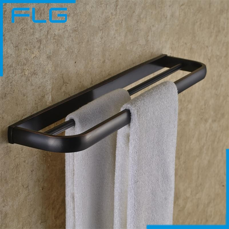 Bathroom Accessories Black Double Towel Bars,  Oil Rubbed Bronzebar Copper Bath Towel Holder 2015 copper golden chrome bathroom accessories suite bathroom double towel bar soap bars brush holder discbathroom accessories