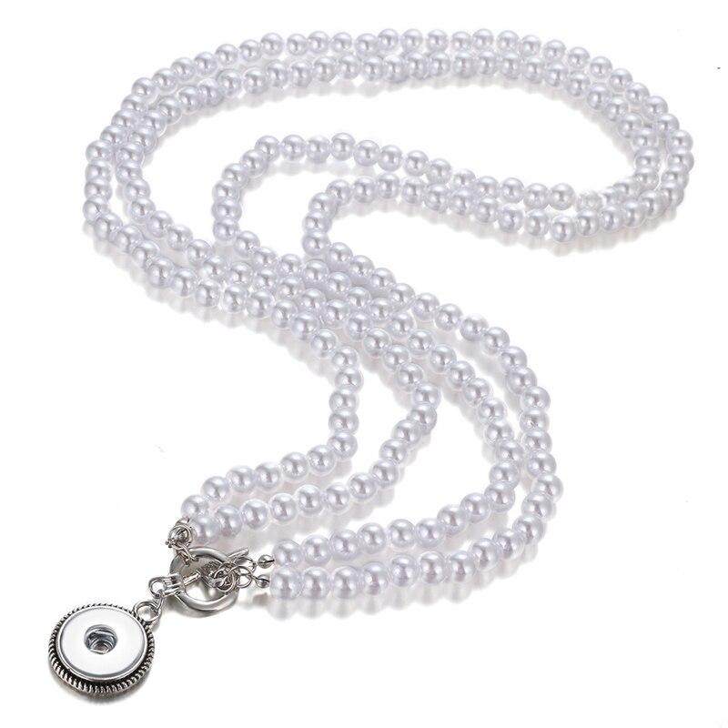 NEW DJ0100 Elegant Imitation pearls Snap necklace&bracelets 72cm fit DIY 18MM snap buttons jewelry wholesale wome