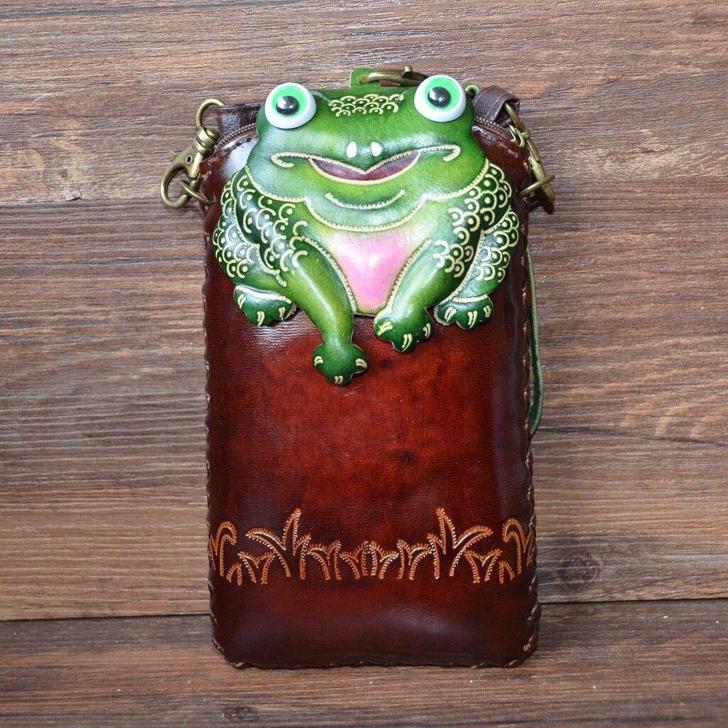Sac en cuir véritable pour femme dessin animé mignon animal grenouille sac messager en cuir de vachette fait à la main mini sac messenger