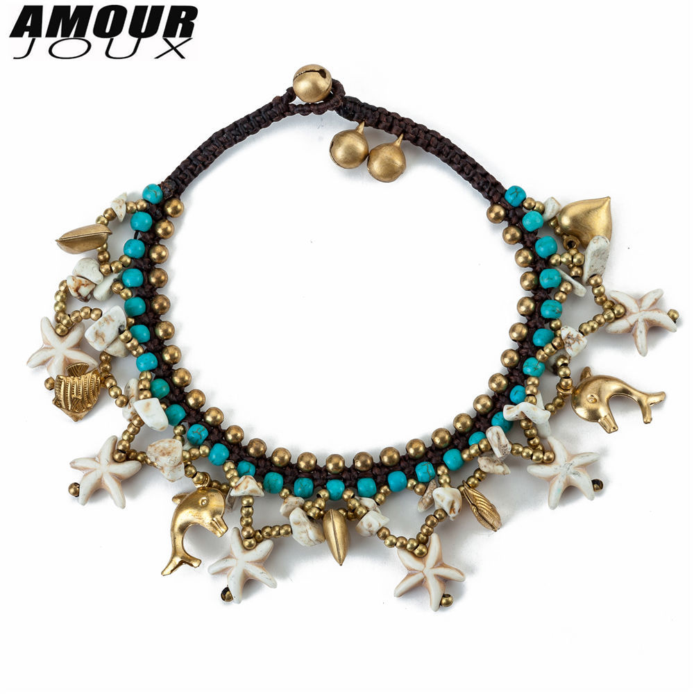 AMOURJOUX Ethnic Handmade White Starfish Charms Beaded Leg Anklets For Women Ankle Bracelet Anklet Female Foot Jewelry