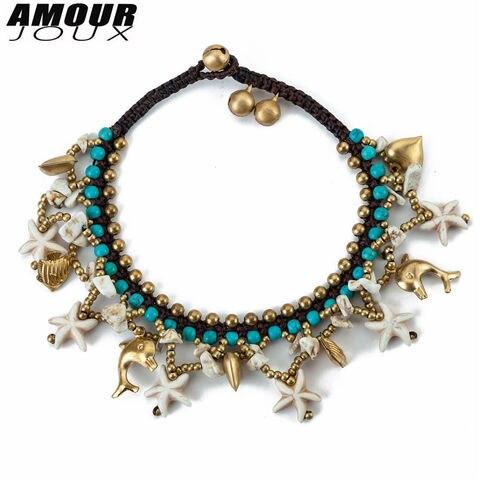 Amourjoux Этнические браслеты ручной работы с белыми морскими