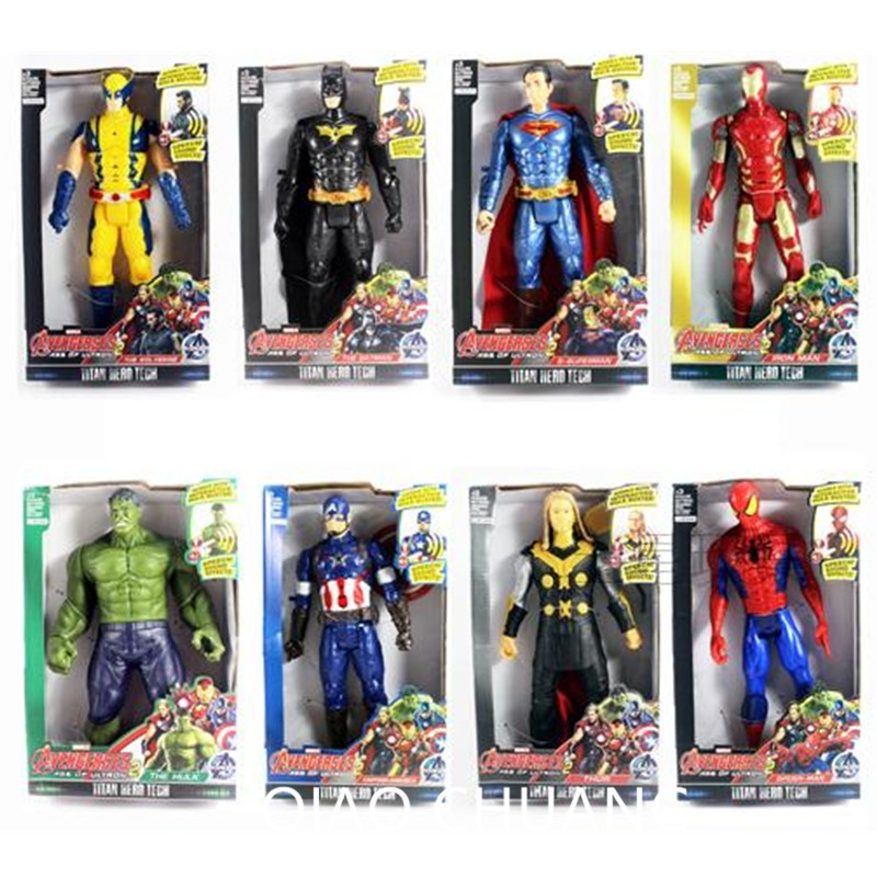 NEW Avengers Superhero Iron Man Thor Spider-Man Captain America Batman Hulk Wolverine With LED Light Action Figure S252 the avengers figures super hero toy doll baby hulk captain america superman batman thor iron man free shipping