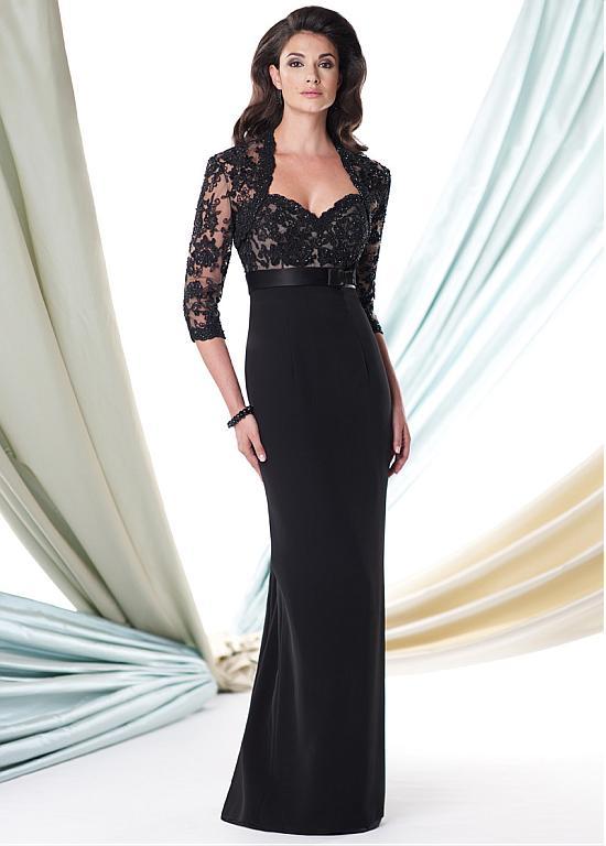 Junoesque noir chérie cou Applique avec veste sirène mère de la mariée robes robe de soirée Vestido mae da noiva 2019