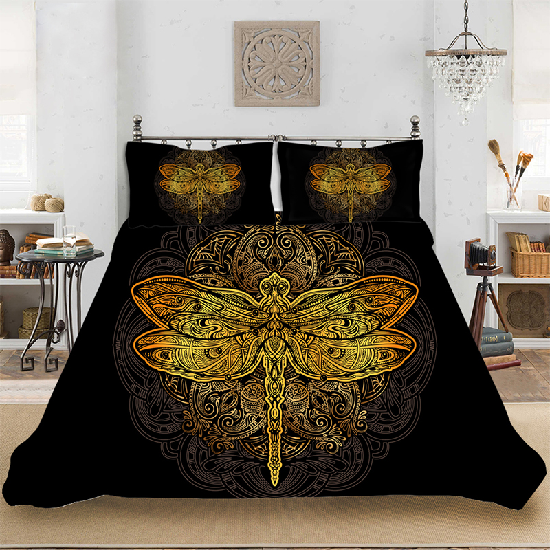 Animal Pattern Colorful Retro Dragonfly Bedding Set Bedclothes Include Duvet Cover Pillowcase Print Home Textile Bed Linens
