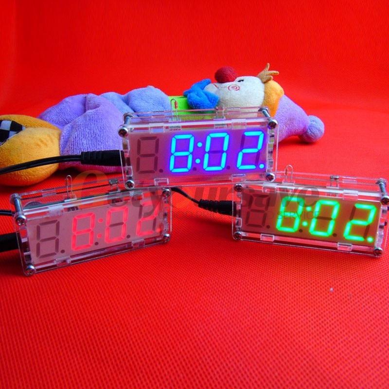 DIY Electronic Microcontroller Kit LED Digital Clock Time Thermometer Alarm Clock 3 Colors