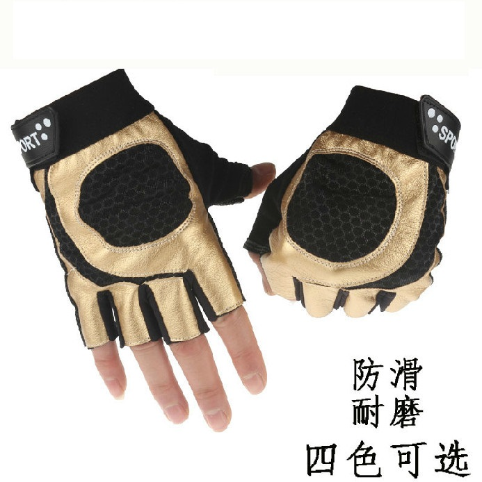 Golden punk gloves riding a semi refers to the thin section of the car to drive anti slip outdoor wear men's sports PU gloves hot selling tactical gloves outdoor semi finger gloves anti slip movement of men s sports army superfine fiber gloves