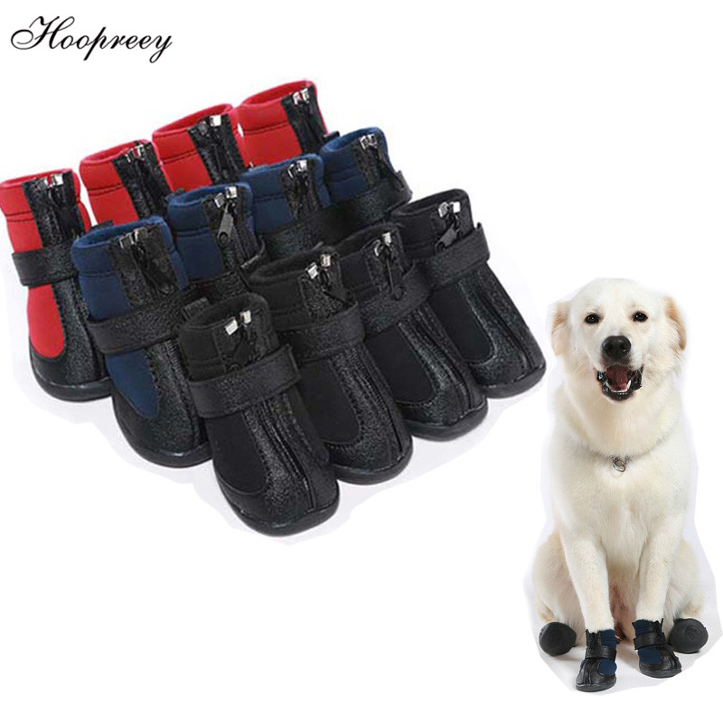 Anti-slip Winter Shoes for Large Big Medium Dogs Waterproof Warm Pet Boots with Zipper Splicing Designs Fashion Pet Shoes XS-XXL