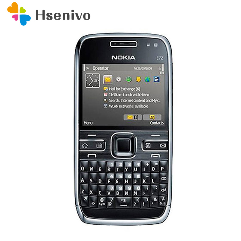 E72 100% Original Nokia E72 Mobile Phone 3G Wifi GPS 5MP Black Unlocked E Series Smartphone & One Year Warranty Refurbished