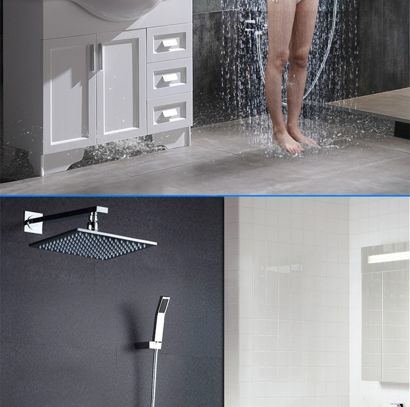 LED Shower Mixer Set Thermostat Faucet Shower Shower Head Powered by Water Square Saving Water Chromed Spout (17)