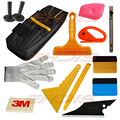 13 in 1 window tint film installing tool kit waterproof tool bag 3M Felt squeegee snitty vinyl cutter, magnet holder,art knife