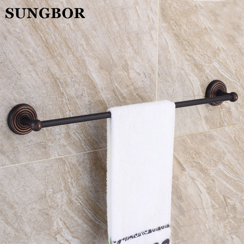 Free Shipping Single Towel Bar Towel Holder Towel Rack Solid Brass Oil Rubbed Bronze Black Color Bathroom Accessories GJ-5410H free postage oil rubbed bronze tooth brush holder double ceramic cups holder