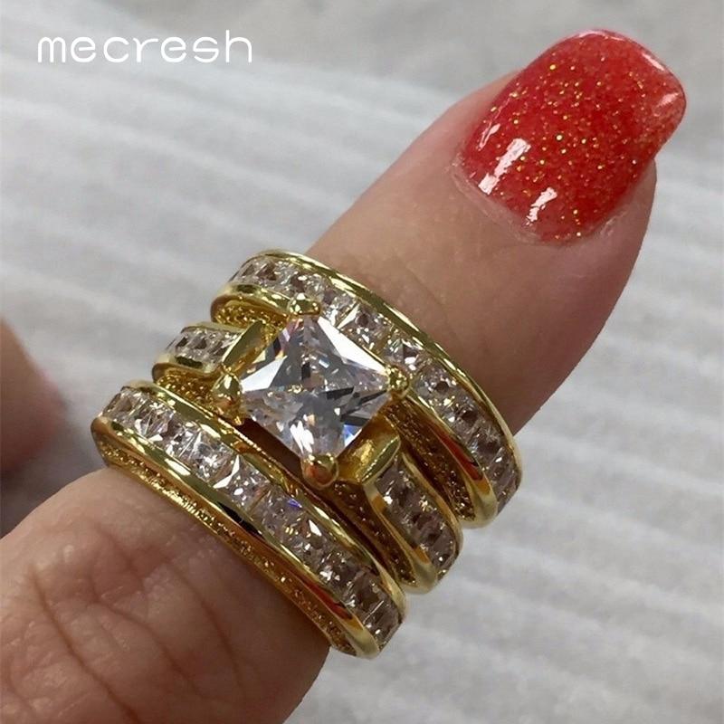 Mecresh 3 Teile/los Geometrische Aaa Cz Hochzeit Ring Set Für Frauen Luxus Gold Farbe Damen Minimalistischen Ring Engagement Schmuck Jz079 Fabriken Und Minen Schmuck & Zubehör