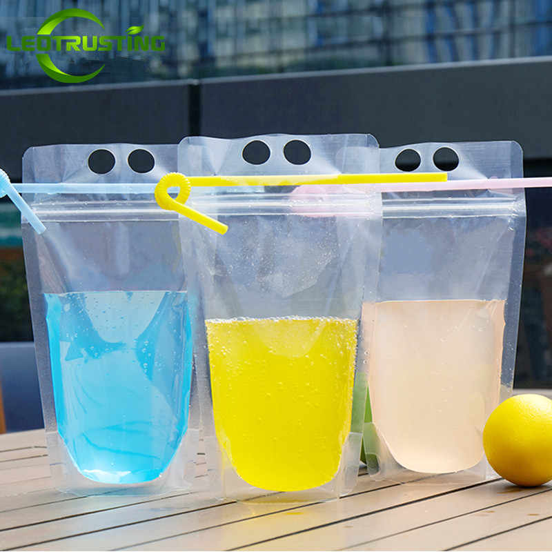 Leotrusting 50pcs 200-500ml Clear Plastic Drinking Packaging Pouch Beverage Juice Coffee Bag High Clear Summer Beverage Pouches