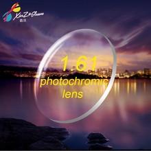 Xinze 1.61フォトクロミックレンズメガネ近視カラーフィルムなる淡色表示茶近視樹脂レンズ遠視古い花薄いクリア