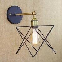 Industrial retro antigo fio de metal ouro estrela lâmpada parede para sala trabalho cabeceira quarto corredor luz da parede luminária iluminação para casa