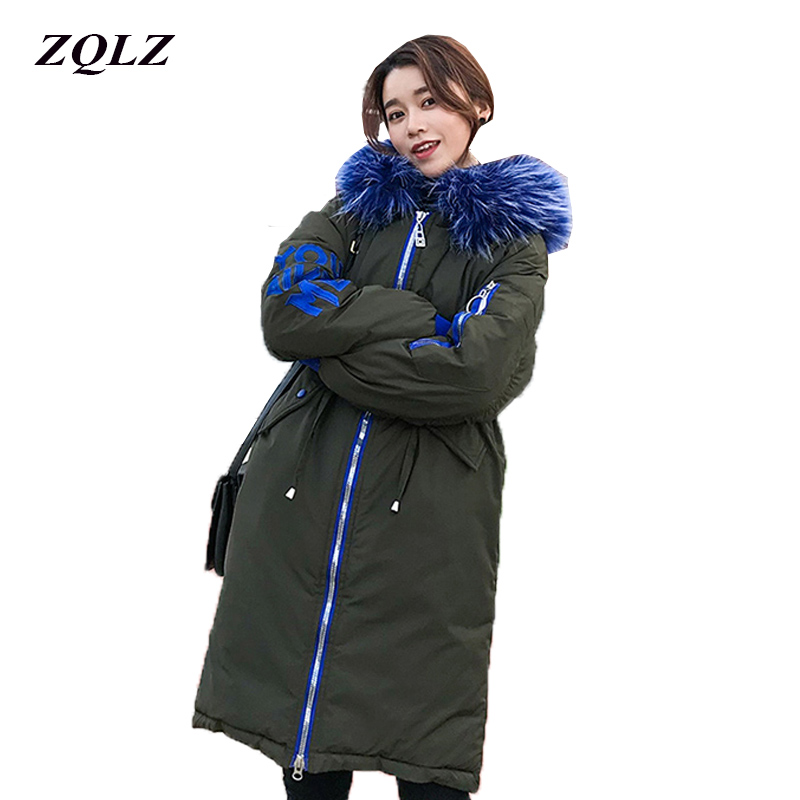 ZQLZ Winter Coat Women Plus Size Casual Hooded Big Fur Loose Cotton Pedded Jacket Femme Thick Snow Wear Ladies Parka Overcoat