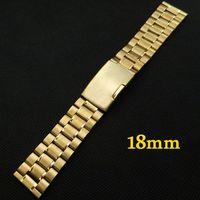 Goldene 18mm Edelstahl Uhrenarmband-bügel druckverschluss mit einer taste Mit Sicherheit Männer Frauen Ersatz GD011318