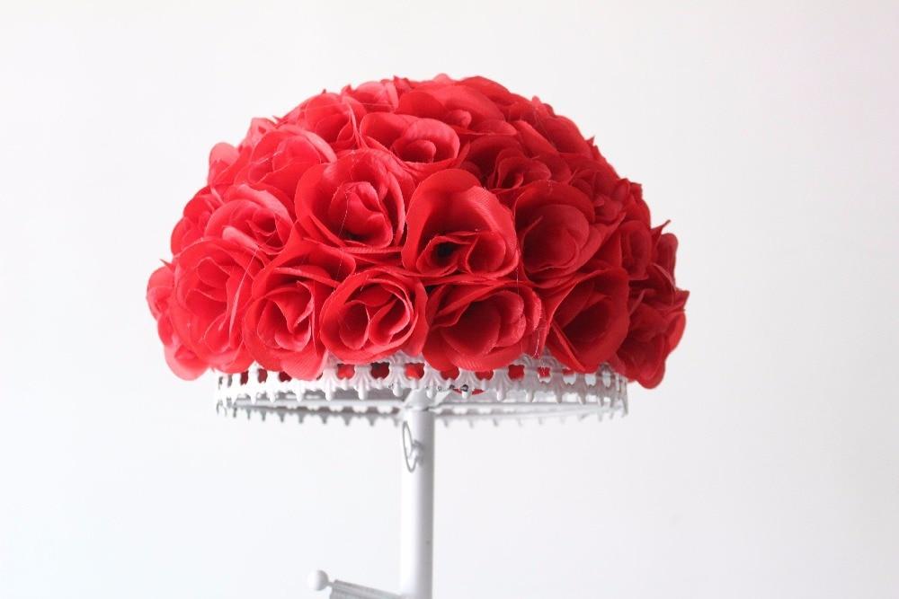 velkoobchod 30cm Silk Rose Pomander Flower Ball Svatební Svatební výzdoba Favor Party Líbání koule Svatební kytice Doprava zdarma
