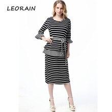 2XL 3XL 4XL plus size 2017 new high quality 100 cotton striped two piece dress High