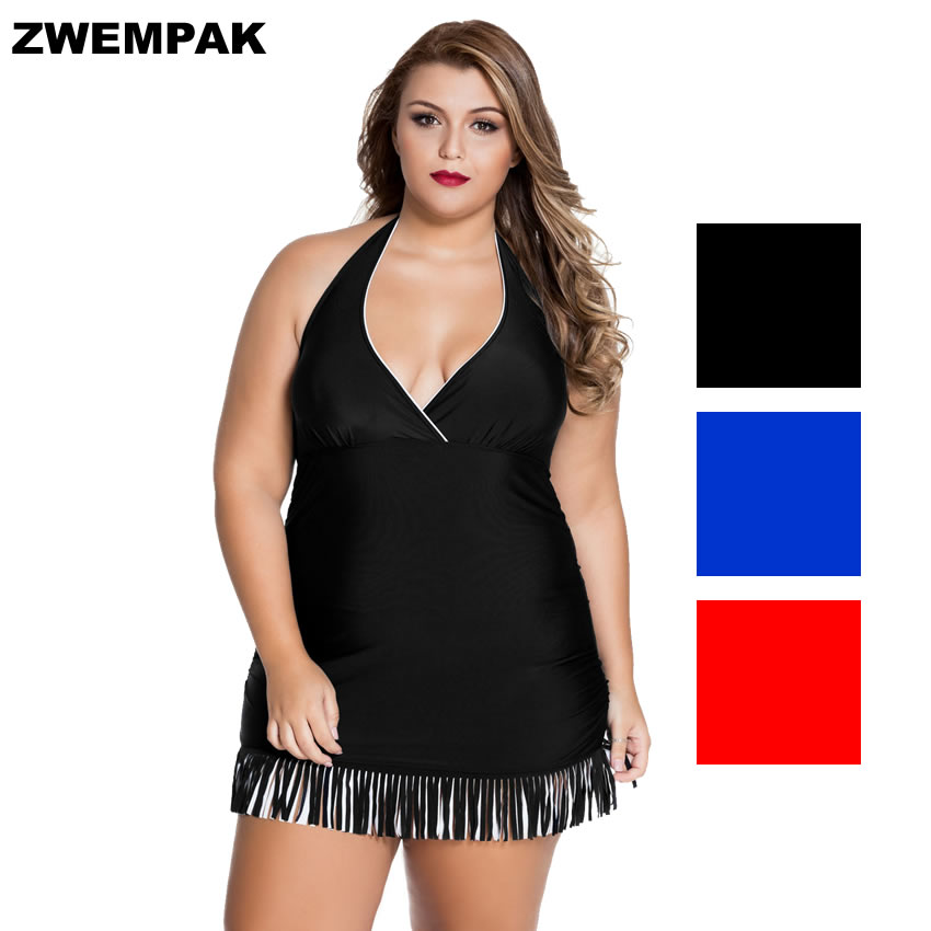 d99a79ce51175 Women Black/Blue/Red Fringe Curvy One-piece Swimdress Sleeveless Short/Mini  Summer Tassel Bathing suit Big Swimsuit Plus Size