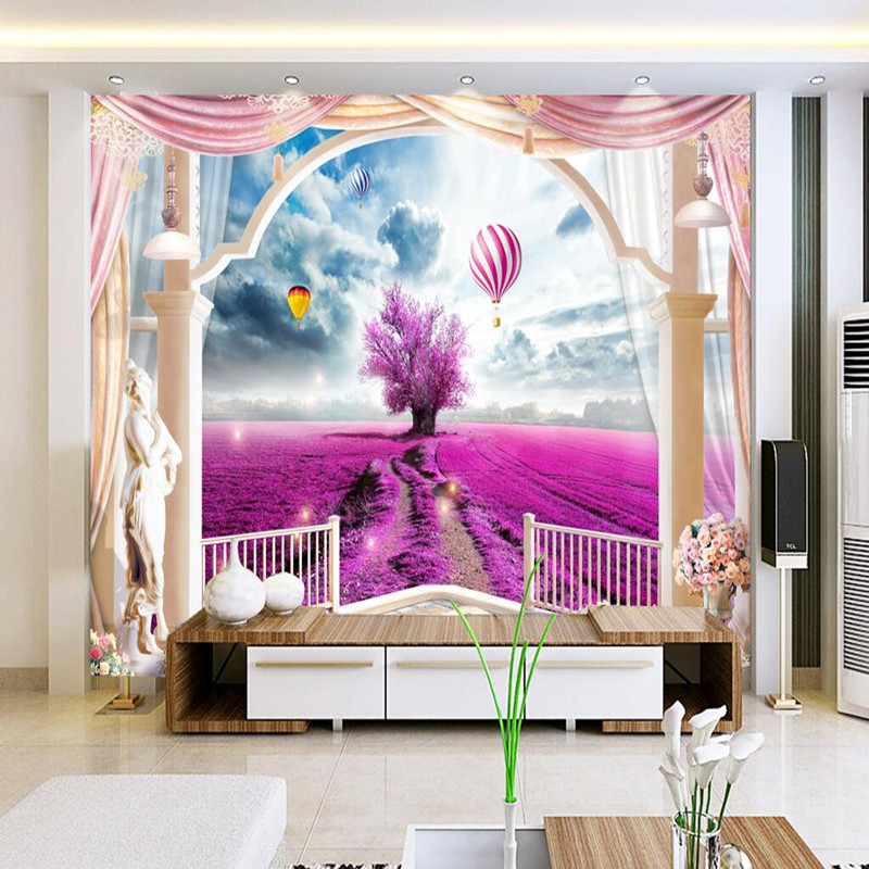 Custom Photo Wall Mural Wallpaper for Bedroom Wall Lavender Hot Air Balloon 3D Wallpaper Romantic Sofa Background 3D Wall Murals shinehome black white cartoon car frames photo wallpaper 3d for kids room roll livingroom background murals rolls wall paper