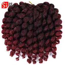 Silike 8inch Ombre Jumpy Wand Curl Crochet Braids 22 Roots Jamaican Bounce Synthetic Crochet Hair Extension for Black Women(China)