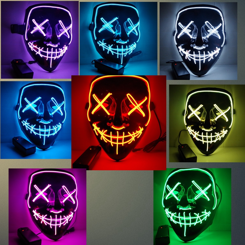 3 días processingalloween LED Light Up Mask Party Cosplay mascarillas la purga año de elección grandes máscaras divertidas Festival brillan en la oscuridad