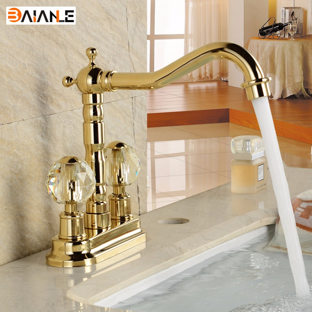 Basin Faucet Golden/Antique Brass Deck Mounted Dual Ceramics Cross Handles Bathroom Vessel Sink Faucet Swivel Mixer Taps antique brass bathroom basin faucet dual cross handles single hole deck mounted vessel sink gooseneck mixer taps wnf006
