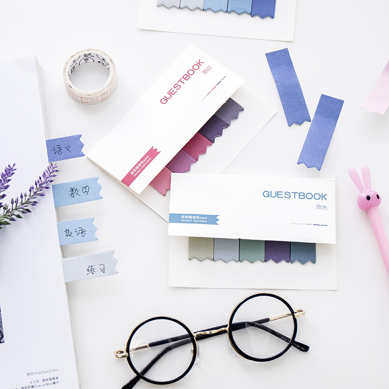 Gradient Color Memo Pad Sticky Notes Cute Colorful Planner Page Index Stickers Stationery Paper Bookmark School Supplies