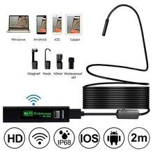 цена на 8MM Wifi Camera  1200P 2/5/10m Semi-Rigied Endoscope Inspection Borescope Snake Video Flexible Camera For IOS Android Car Detec