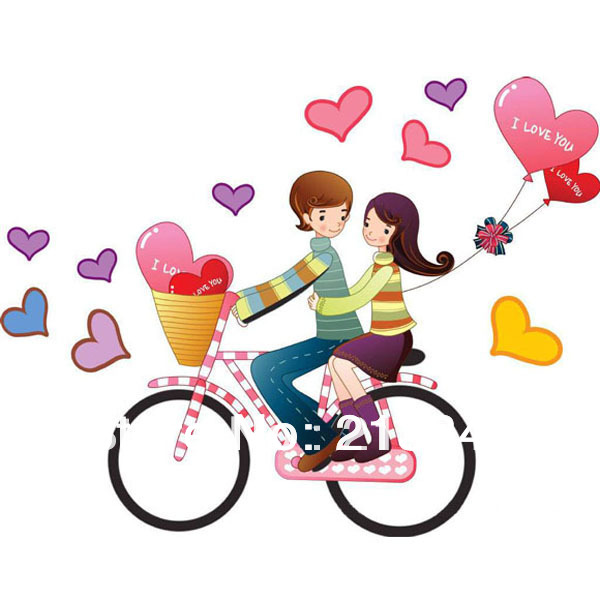 Fundecor I Love You Couple Cycling Romantic Art Wall Stickers Mural